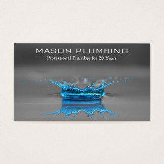 Blue Water Drop Splash - Plumbing - Business Card