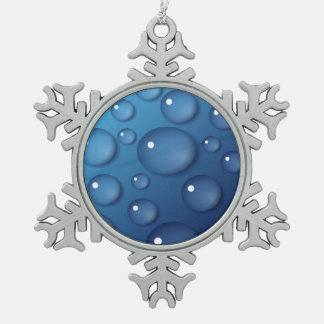 Blue Water Drop Texture Snowflake Pewter Christmas Ornament