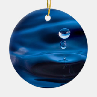Blue Water Drops Round Ceramic Decoration