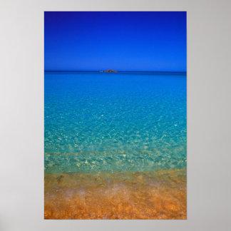 Blue water, Exuma Islands, Bahamas. Poster