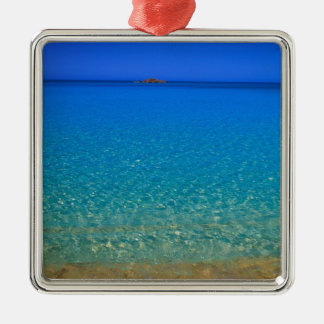 Blue water, Exuma Islands, Bahamas. Silver-Colored Square Decoration