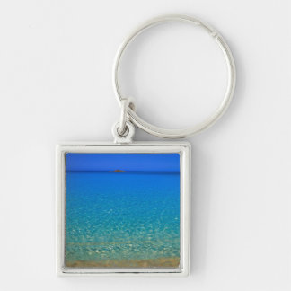 Blue water, Exuma Islands, Bahamas. Silver-Colored Square Key Ring