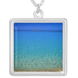 Blue water, Exuma Islands, Bahamas. Square Pendant Necklace