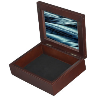 Blue water fractal abstract keepsake boxes
