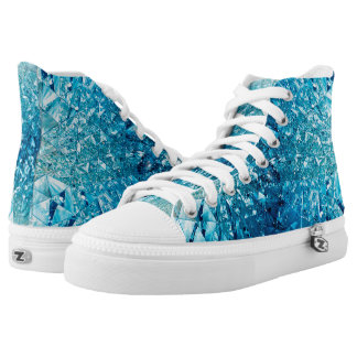 Blue water in crystals printed shoes