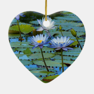 Blue water lilies heart ornament