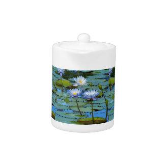 Blue water lilies teapot