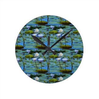 Blue water lilies wall clock