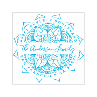 Blue Water Mandala Typography Return Address Self-inking Stamp