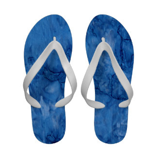 Blue water print flip flops
