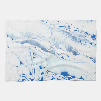 Blue  water texture design, marbling paper, tea towel