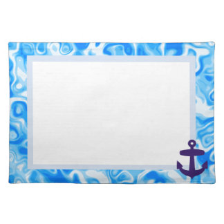 Blue Water texture placemat with anchor design