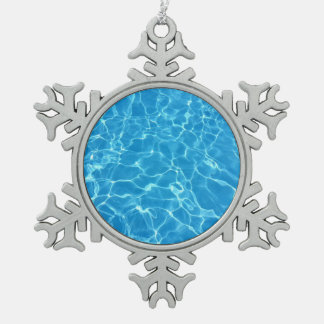 Blue Water Texture Snowflake Pewter Christmas Ornament