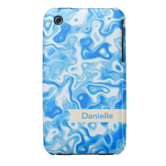 Blue Water texture with beige name tag iPhone 3 Cases