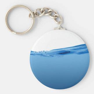Blue water wave basic round button key ring