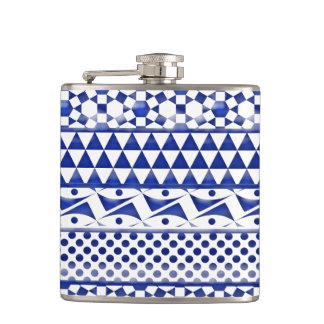 Blue Watercolor Abstract Aztec Tribal Print Pattrn Hip Flask