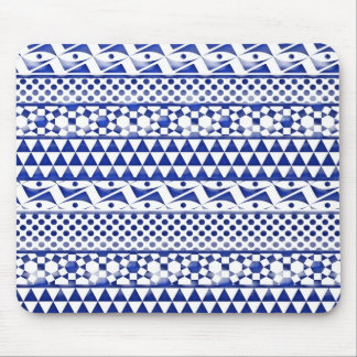 Blue Watercolor Abstract Aztec Tribal Print Pattrn Mouse Mat