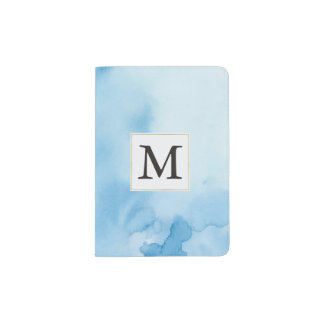 Blue Watercolor Abstract Monogram Passport Holder