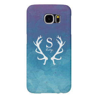 Blue Watercolor and Rustic Deer Antlers Monogram Samsung Galaxy S6 Cases
