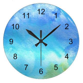 Blue Watercolor Art clock