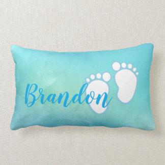 Blue Watercolor Baby feet Footprint Personalised Lumbar Cushion
