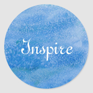Blue Watercolor Background Classic Round Sticker