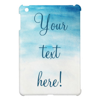 Blue watercolor background with sample text cover for the iPad mini