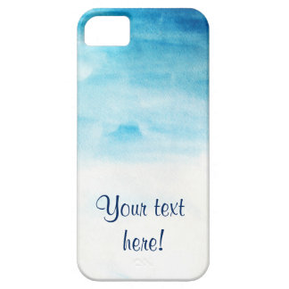 Blue watercolor background with sample text iPhone 5 cover