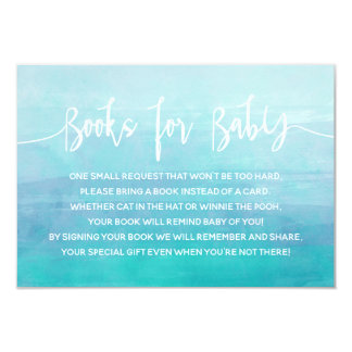 Blue Watercolor Books for Baby Card