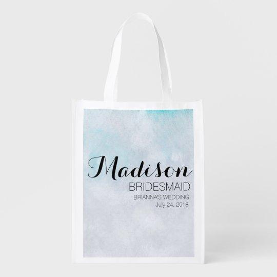 Blue Watercolor Bridesmaid Totebag Template Reusable Grocery Bag