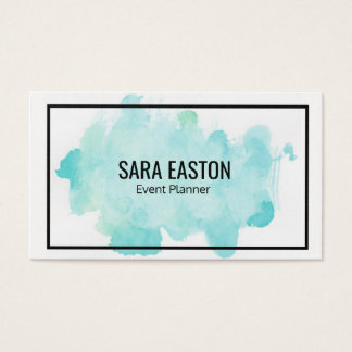 Blue Watercolor Business Card with Border