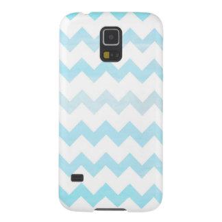 Blue Watercolor Chevron Zigzag Pattern Monogram Galaxy S5 Cover