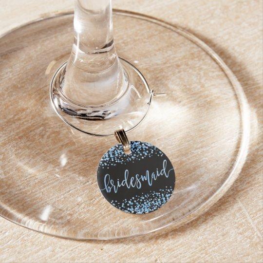 Blue Watercolor Confetti Dots Wedding Bridesmaid Wine Charm