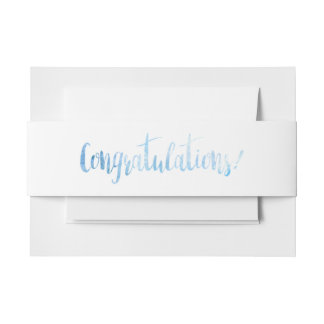 Blue Watercolor Congratulations Band Invitation Belly Band