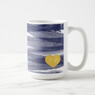 Blue Watercolor Couple's Coffee Mug