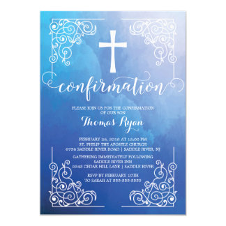 Blue Watercolor Cross Confirmation Invitation
