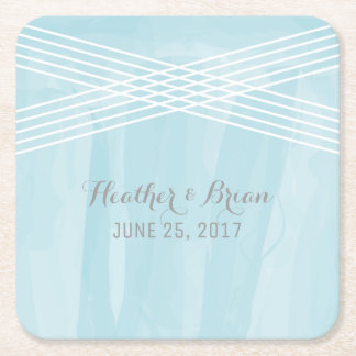 Blue Watercolor Deco Wedding Square Paper Coaster