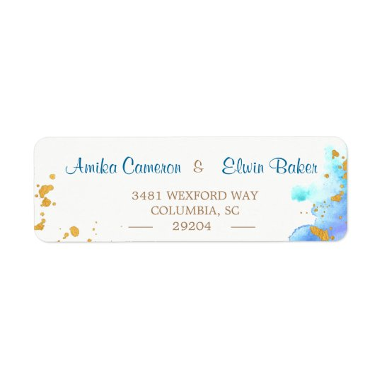 Blue Watercolor Dolphin Return Address Label