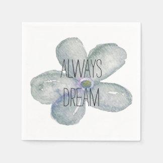 Blue Watercolor Dream Flower Disposable Napkins