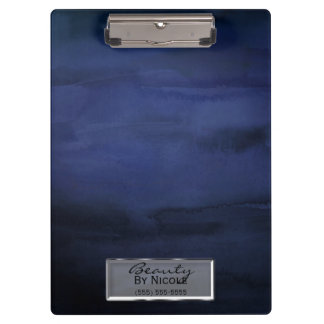 Blue Watercolor Elegant Chic Glam Personalized Clipboard