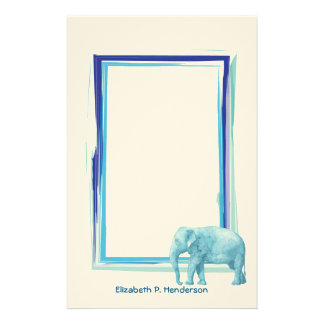 Blue Watercolor Elephant with Sketched Blue Frame Stationery Paper