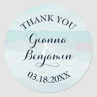Blue Watercolor Favor Stickers - Thank You Sticker
