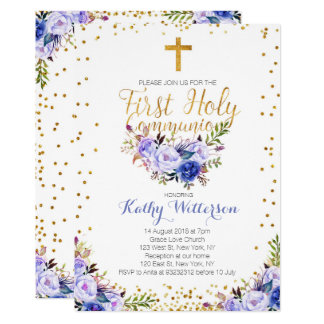 Blue Watercolor First Holy Communion Invitation