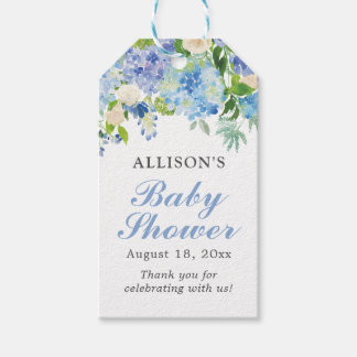 Blue Watercolor Floral Babyl Shower Gift Tags