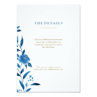 Blue Watercolor floral Chinoiserie Wedding details Card