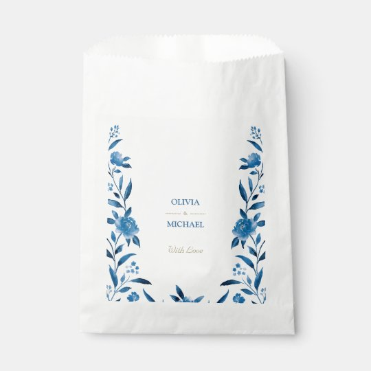 Blue Watercolor floral Chinoiserie Wedding Favour Bags