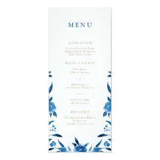 Blue Watercolor floral Chinoiserie Wedding menu Card