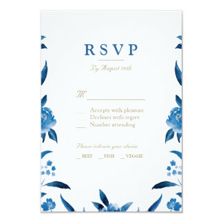 Blue Watercolor floral Chinoiserie Wedding RSVP Card