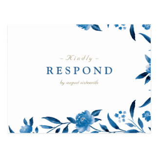 Blue Watercolor floral Chinoiserie Wedding RSVP Postcard