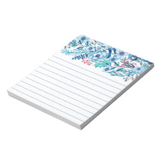Blue Watercolor Floral Notepad